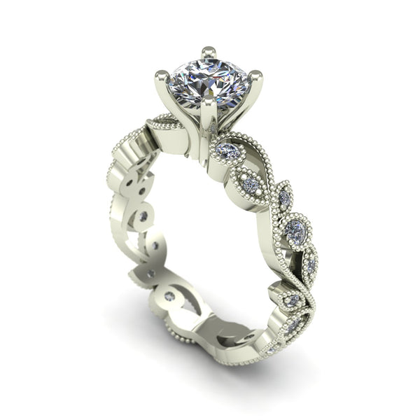 Diamond solitaire floral engagement ring in 14k white gold