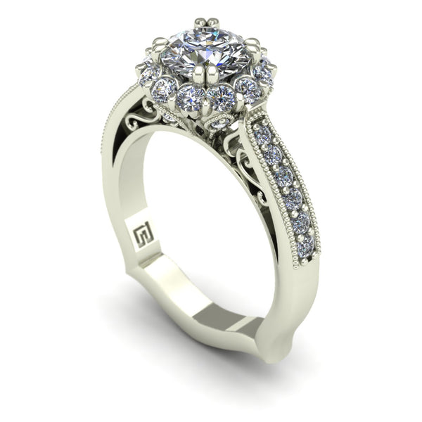 Diamond posey halo engagement ring in 14k white gold