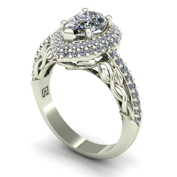 Pear-cut diamond double halo engagement ring in 14k white gold