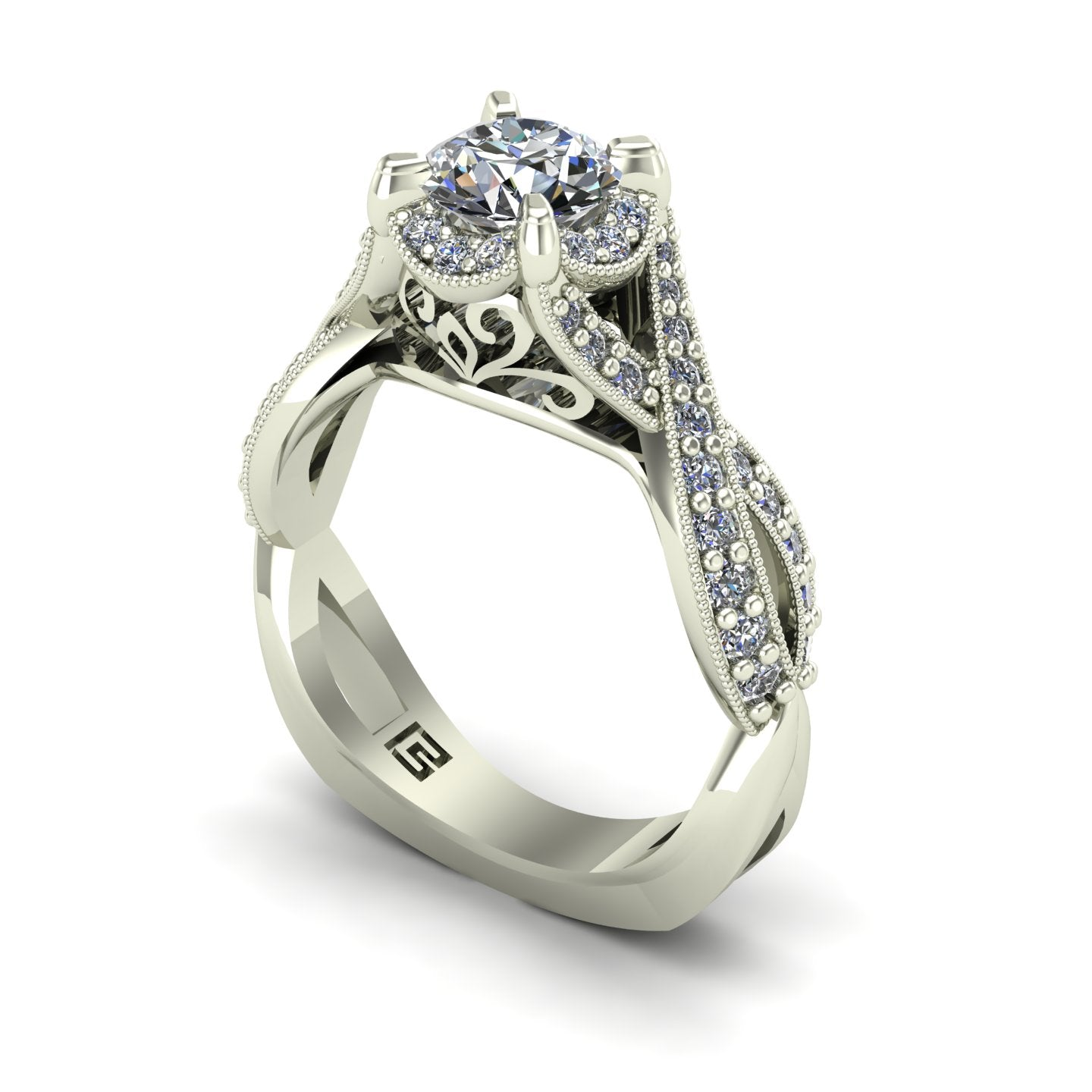 Diamond engagement ring with crossover shank in 14k white gold