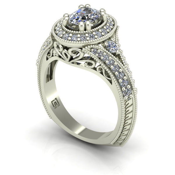 Oval diamond engagement ring with halo in 14k white gold