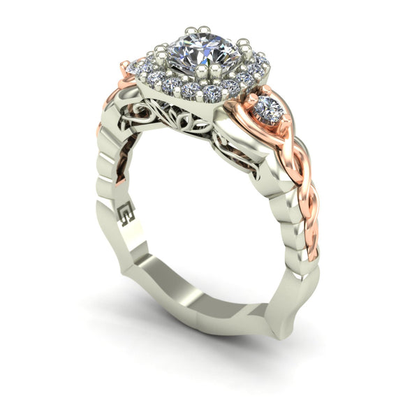 Diamond two tone engagement ring in 14k white and rose gold
