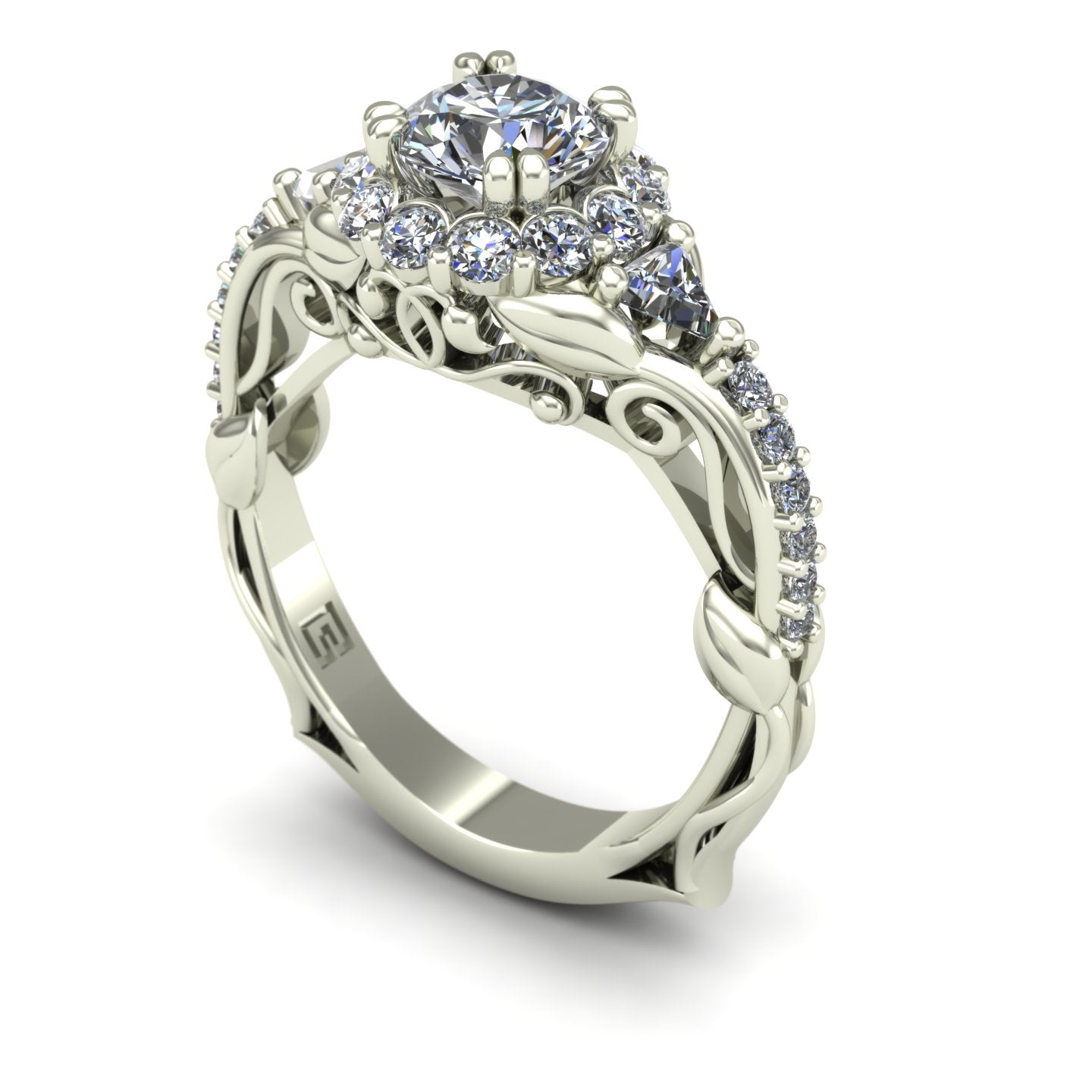 Diamond halo engagement ring with trillions and vines in 14k white gold