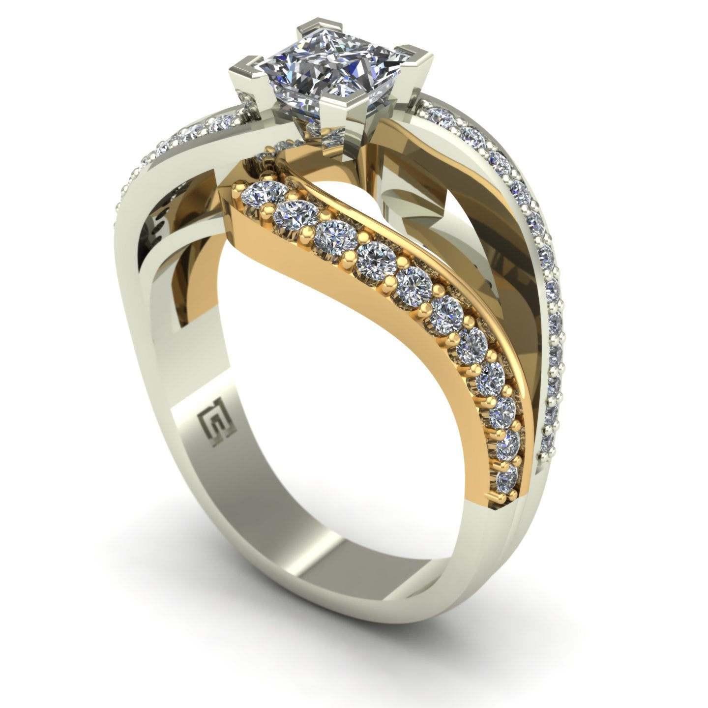 Princess diamond contemporary engagement ring in 14k yellow and white gold