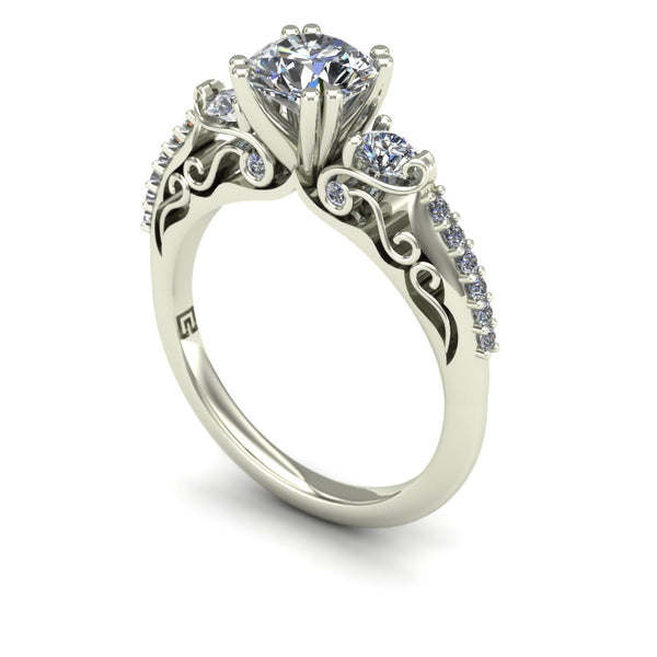 Diamond engagement ring with round sides in 14k white gold