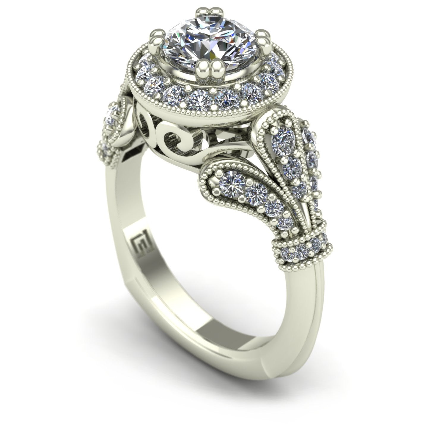 Diamond engagement ring in 14k white gold