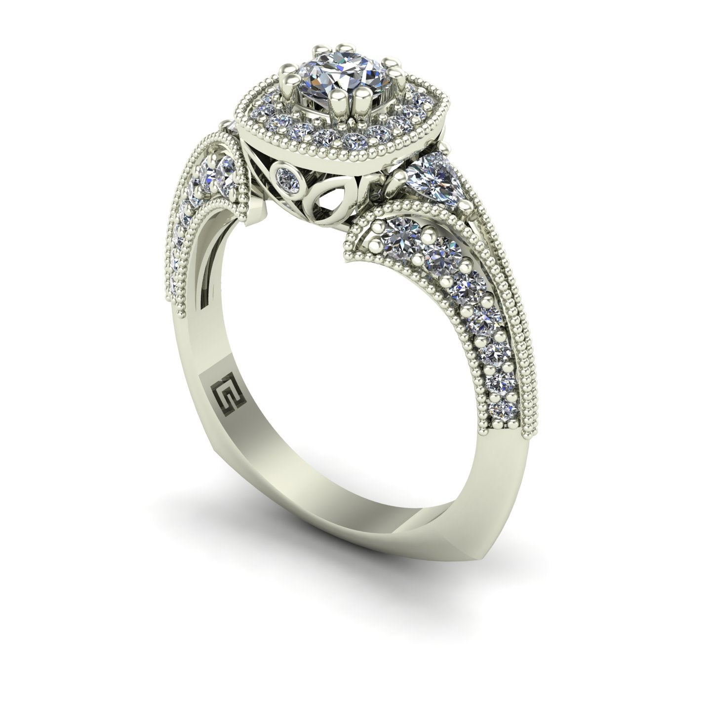 Diamond halo engagement ring with trillions and split shank in 14k white gold