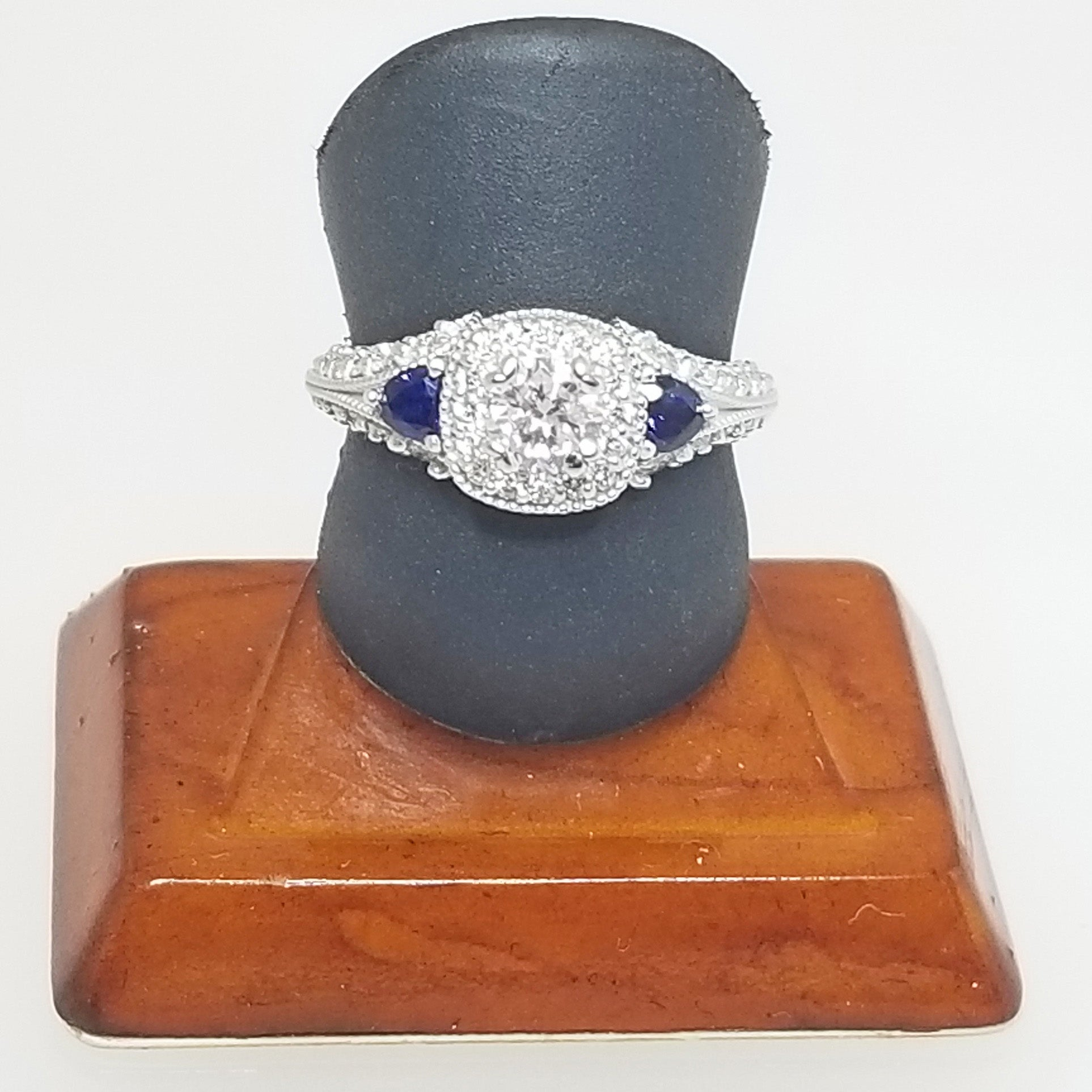 Ready to ship diamond engagement ring with sapphire trillions in 14k white gold