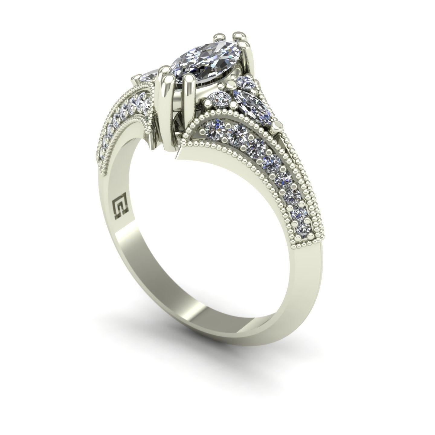 Marquise diamond engagement ring in 14k white gold