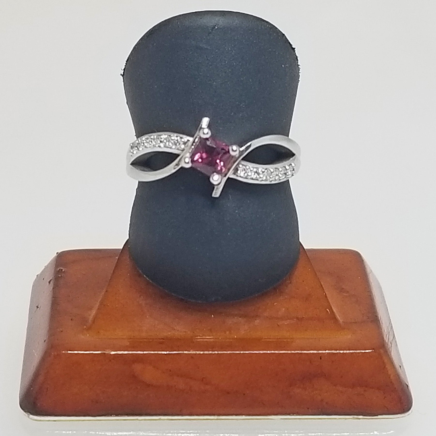 Ready to Ship princess cut rhodolite garnet bypass ring in 14k white gold