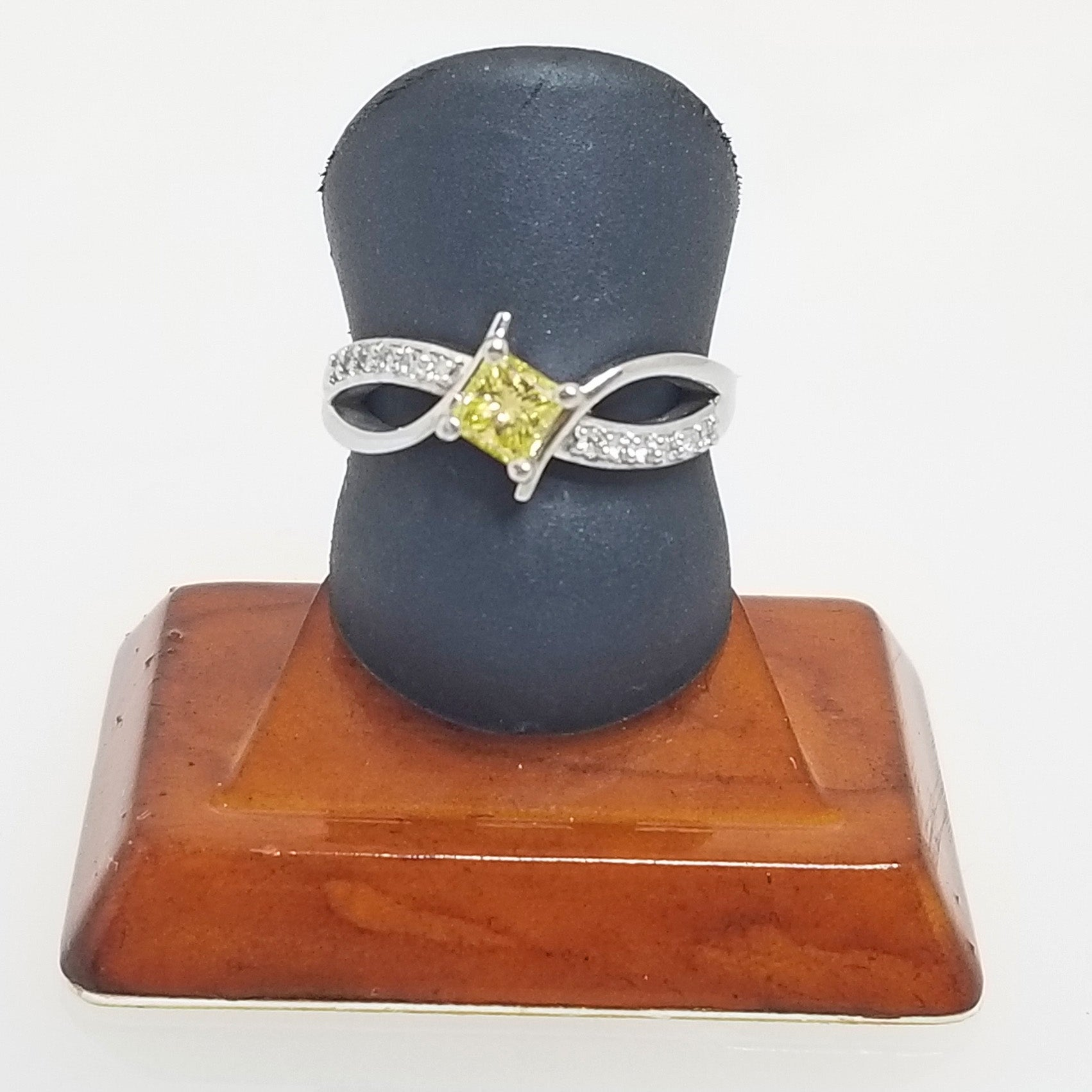 Ready to Ship princess cut yellow diamond engagement ring in 14k white gold