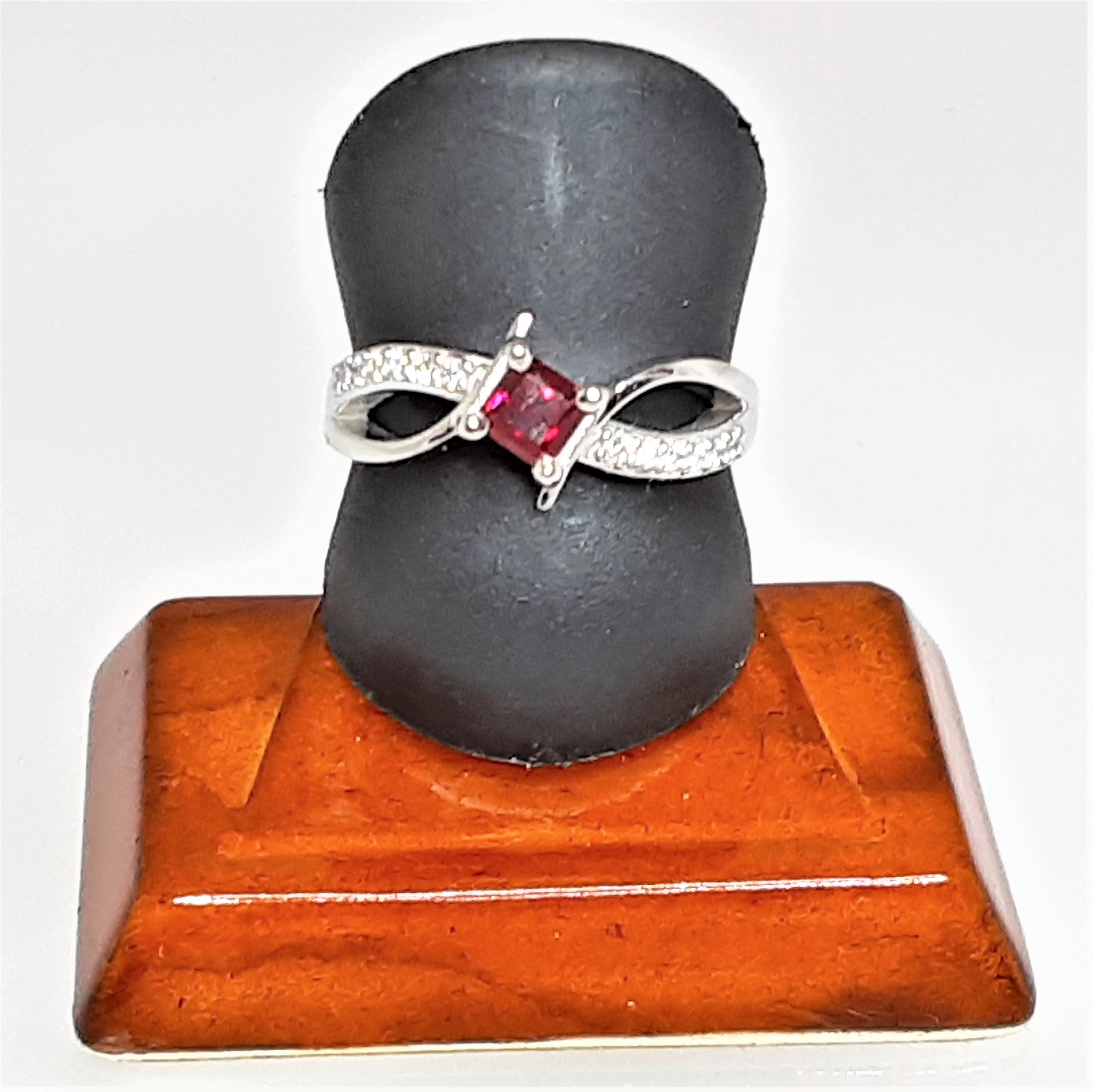 Ready to Ship princess cut lab created ruby bypass ring in 14k white gold