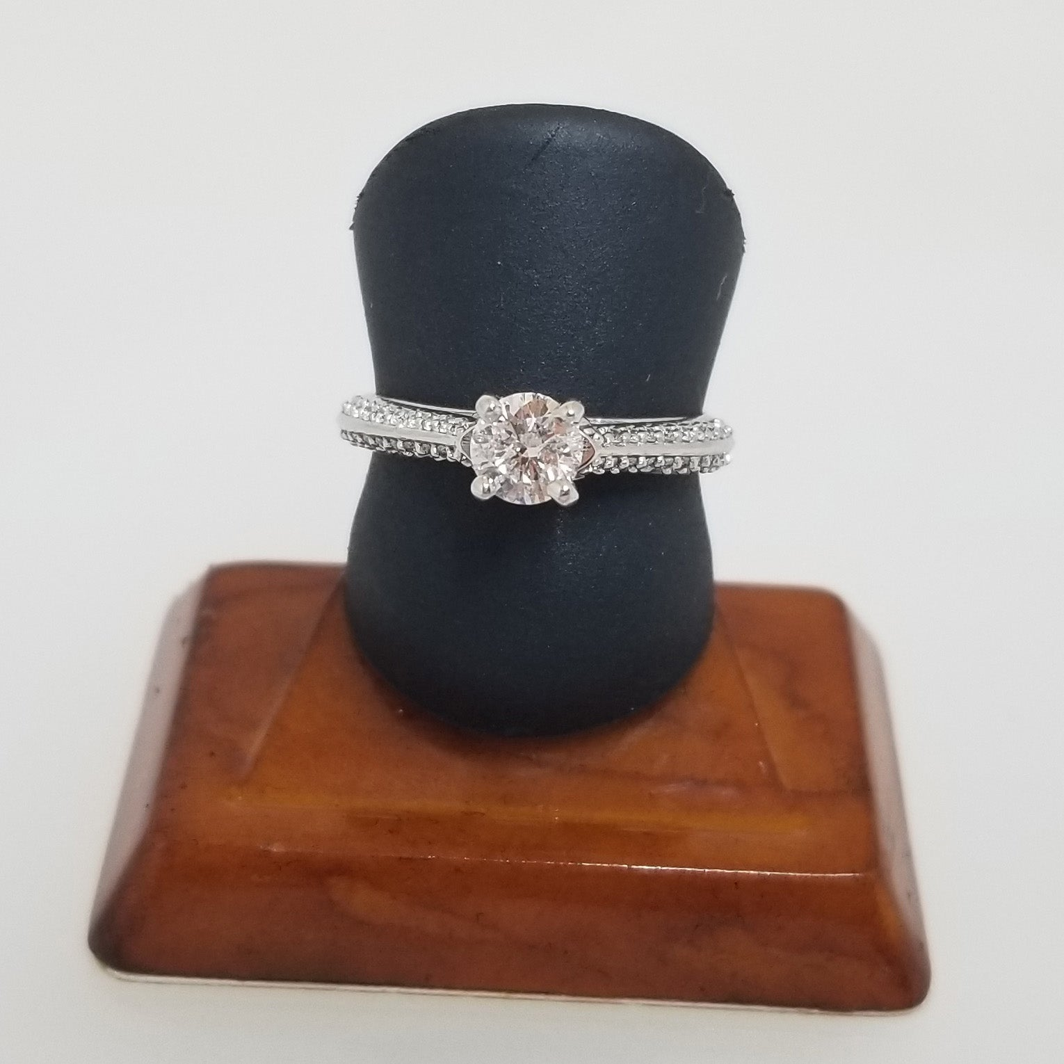 Ready To Ship Diamond engagement ring with knife edge shank in 14k white gold
