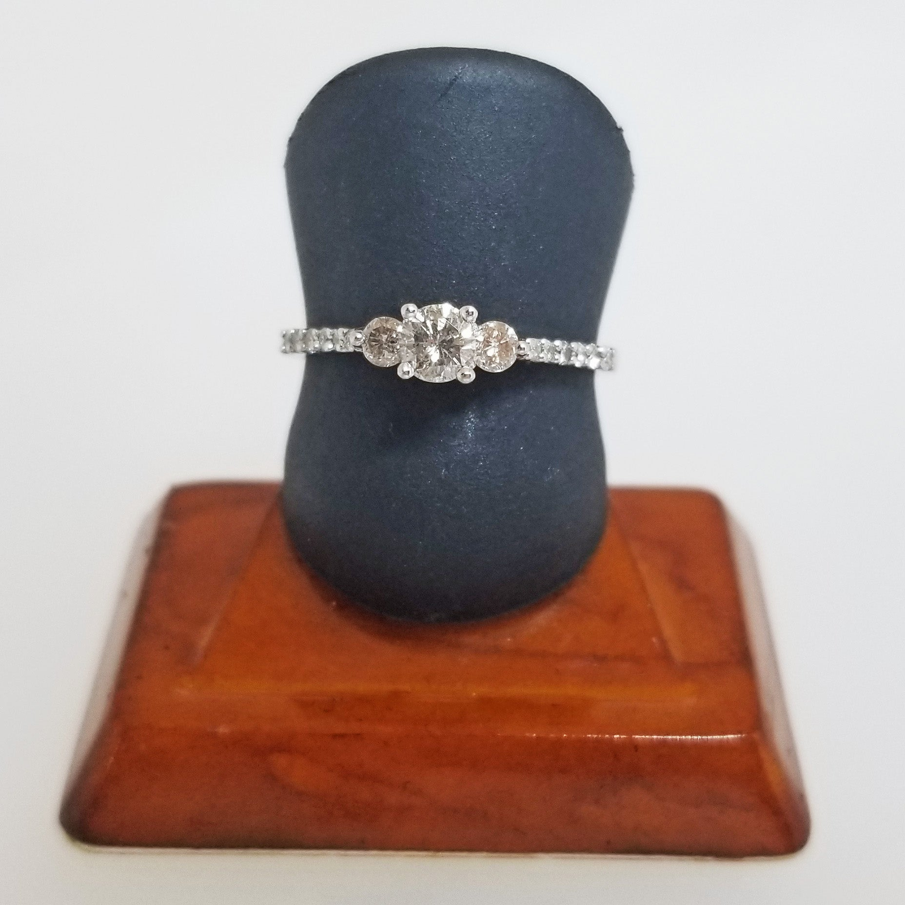 Ready to Ship petite diamond three stone engagement ring in 10k white gold