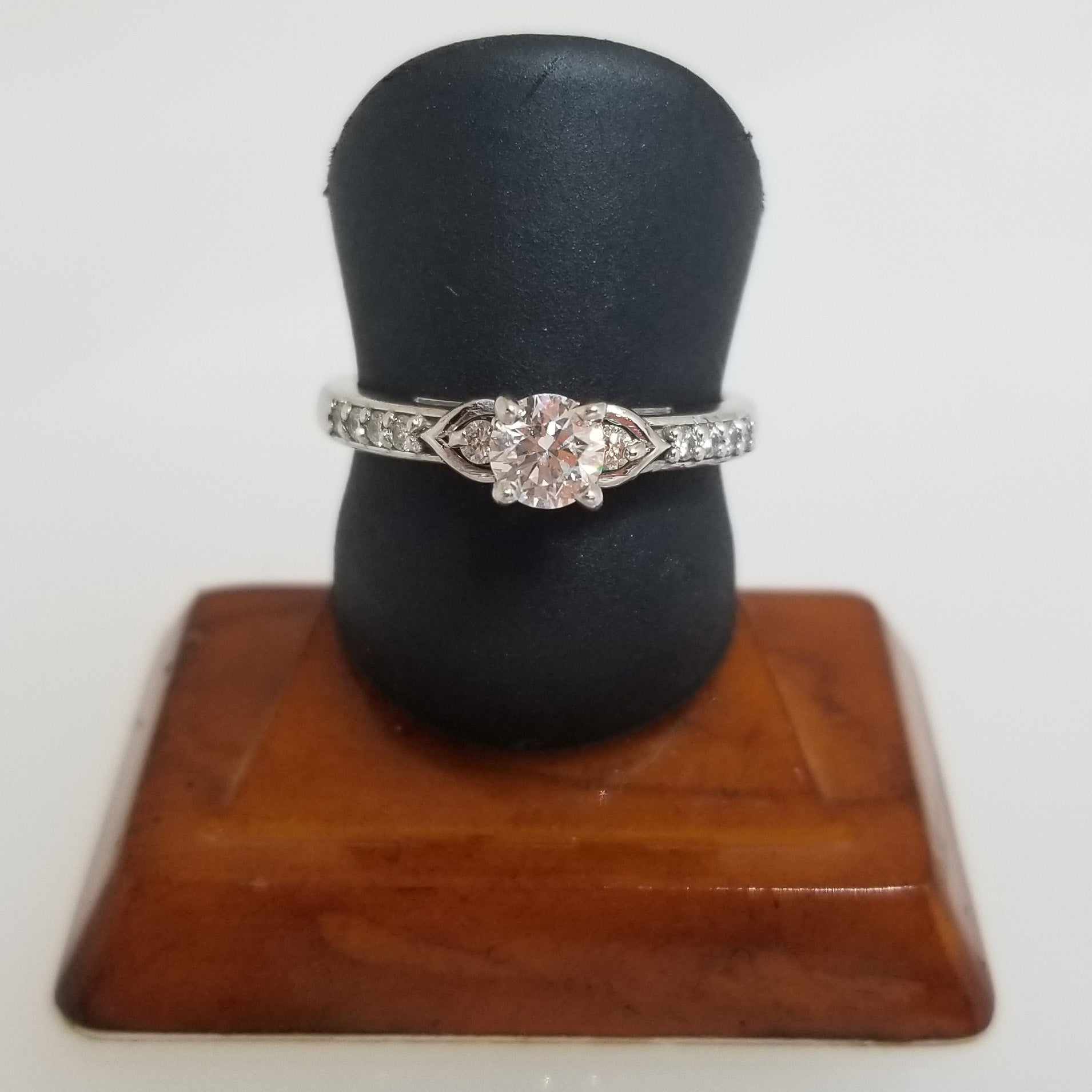 Ready to Ship petite diamond engagement ring with channel sides in 14k white gold