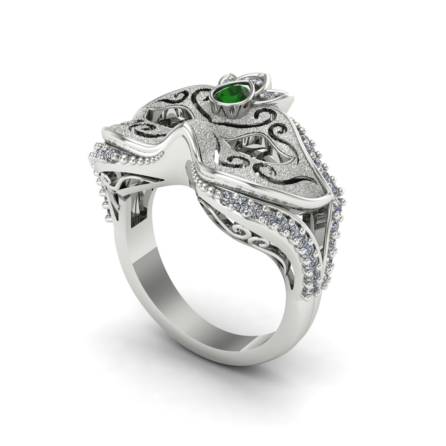 Tsavorite garnet and diamond carnival mask ring in 14k white gold