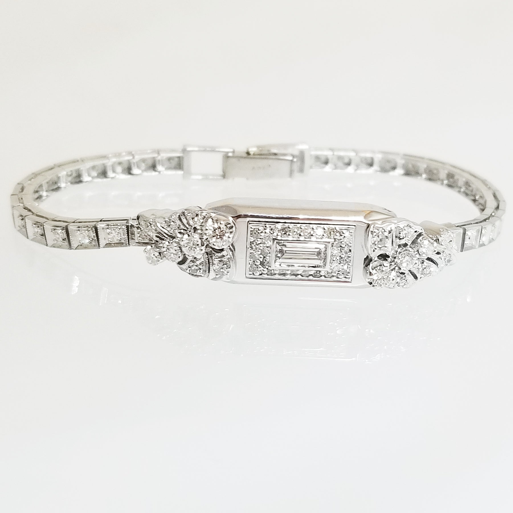 Ready to ship diamond antique watch bracelet in 14k white gold