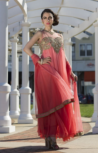 Megha - Peach Tulle long Anarkali suit
