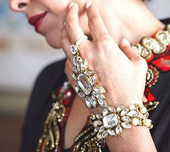 Crystal and Gold statement Hand Jewelry