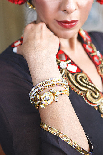 Posh Pari Kundan/ Diamond/ Gold leaf snap bracelet