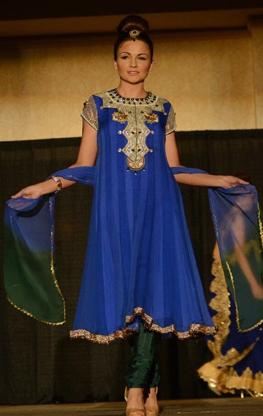 Reena - Royal Blue Tonal Anarkali suit