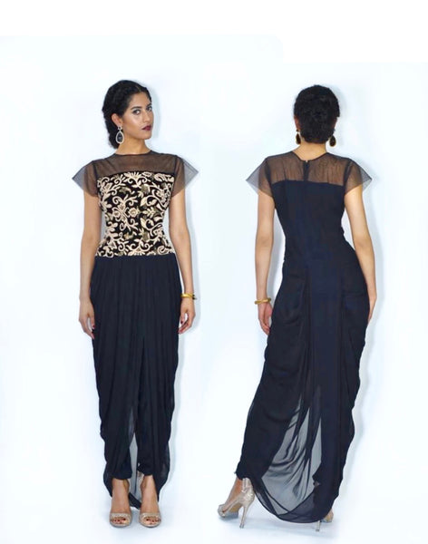 Ekta- Modern Sheer Neck Draped Lungi Style tunic