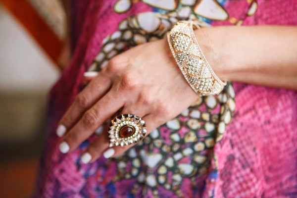 Posh Pari Kundan Work and Stone Look Statement Ring