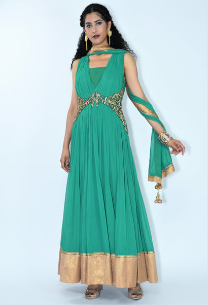 Hunter Green Anarkali Dress style Suit
