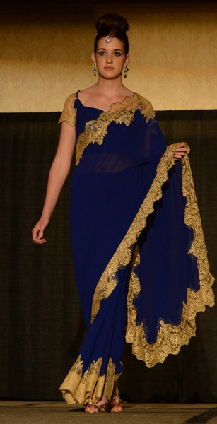 Emily - French lace fusion sari