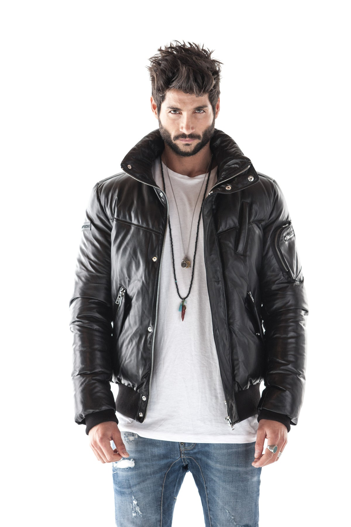 MAGNESIA BLACK DOWN LEATHER BOMBER