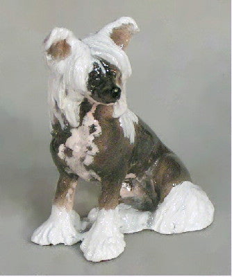 Ron Hevener Family Dog Figurine For Chinese Crested Lovers -- What Color Is Yours?