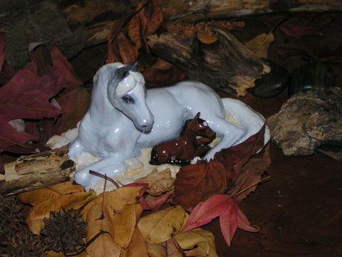 Hevener Arabian Mare and Foal Collectible Figurine