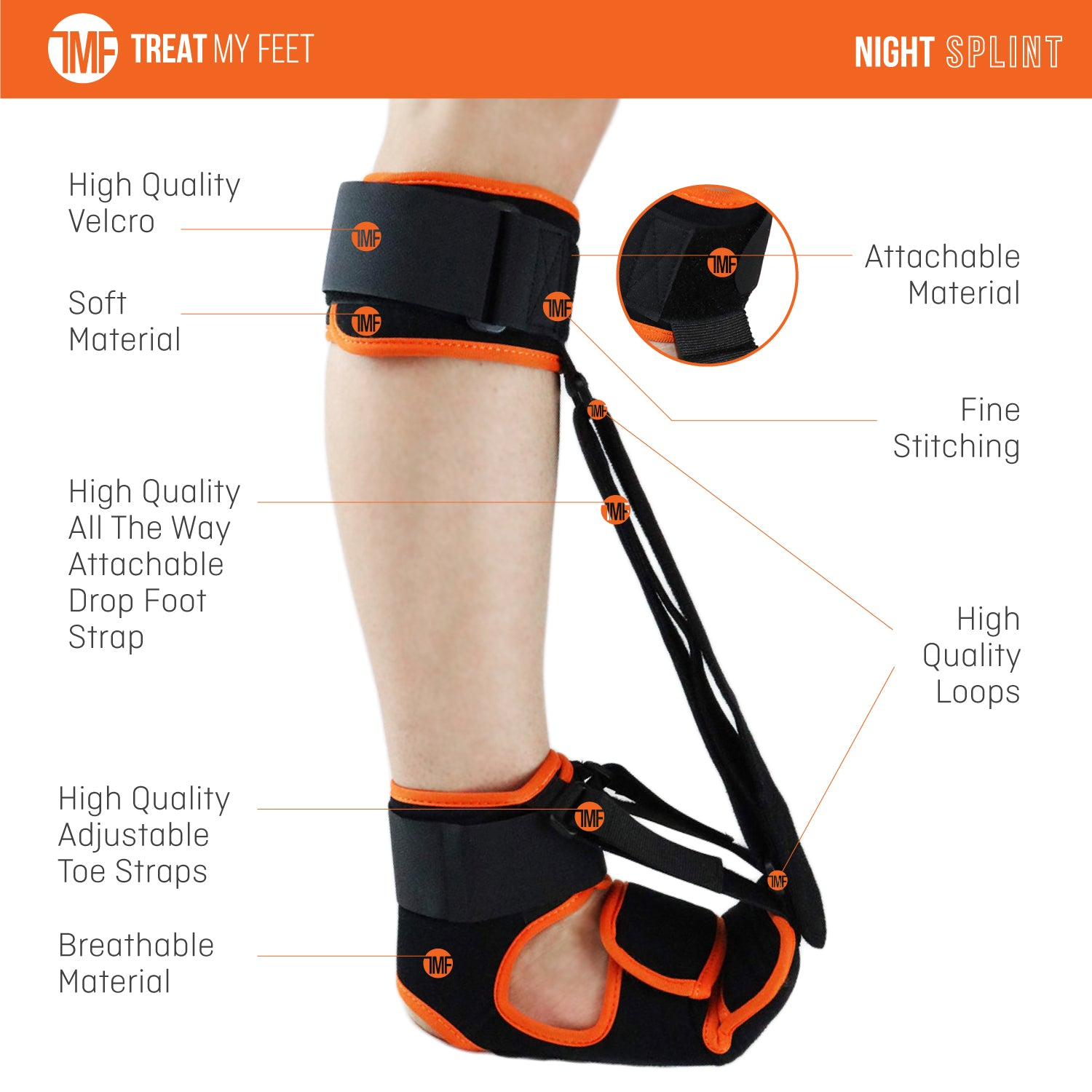 Plantar Fasciitis Night Splint - Feet Orthotics Support for Achilles Tendonitis & Pain