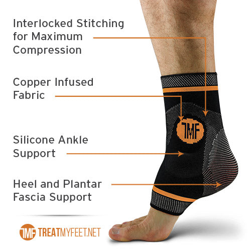 Best Copper Infused Compression Ankle Brace, Silicone Ankle Support w/ Anti-Microbial Copper. Plantar Fasciitis, Foot, & Achilles Tendon Pain Relief. Prevent and Support Ankle Injuries & Soreness