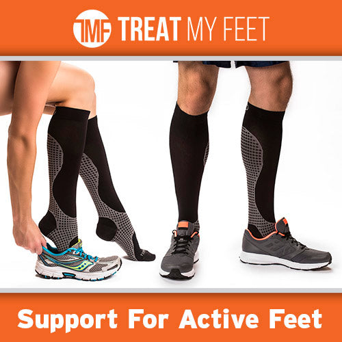 Black / Grey Calf & Leg Moderate Graduated Compression Socks - 15-20 mmHg
