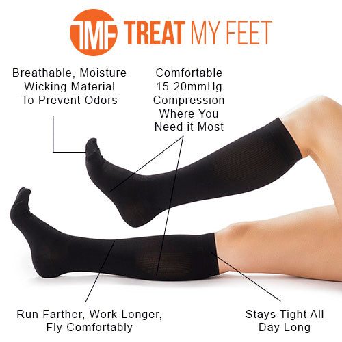 Black Calf & Leg Moderate Compression Socks - 15-20 mmHg