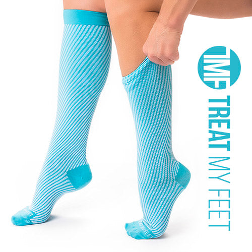 Blue Calf & Leg Moderate Compression Socks - 15-20 mmHg