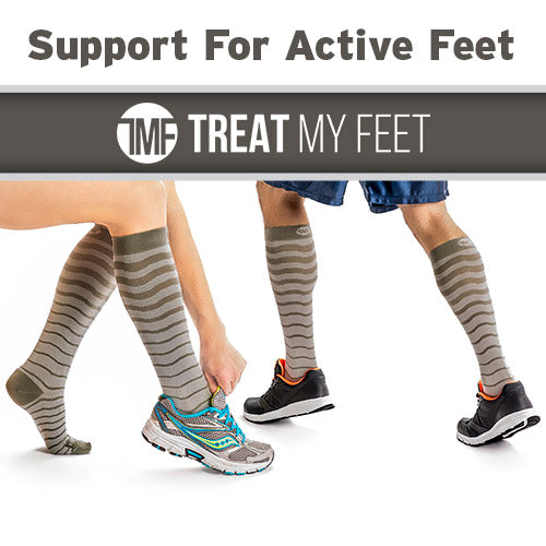 Grey Striped Calf & Leg Moderate Compression Socks - 15-20 mmHg