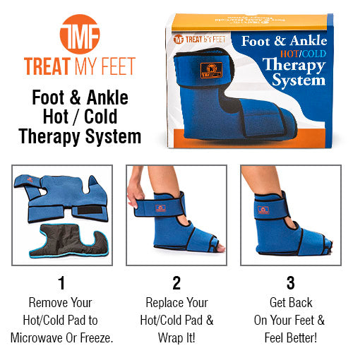 Hot / Cold Therapy System - Padded Gel Wrap For Foot Pain, Ankle Sprains