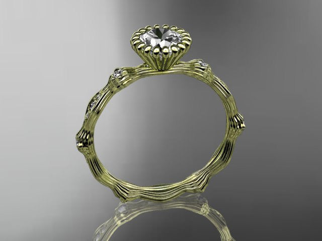 14kt yellow gold diamond leaf wedding ring, engagement ring ADLR21 - AnjaysDesigns