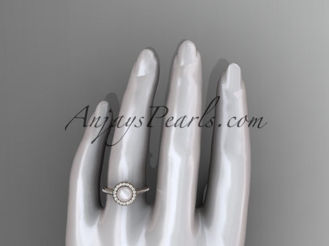14k rose gold diamond pearl vine and leaf engagement ring AP101 - AnjaysDesigns