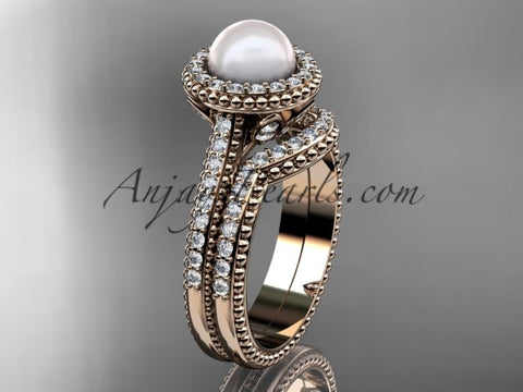 14k rose gold diamond pearl engagement set AP101S - AnjaysDesigns