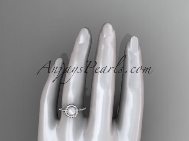 14k white gold diamond pearl vine and leaf engagement ring AP101 - AnjaysDesigns
