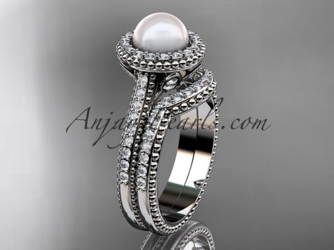 14k white gold diamond pearl engagement set AP101S - AnjaysDesigns