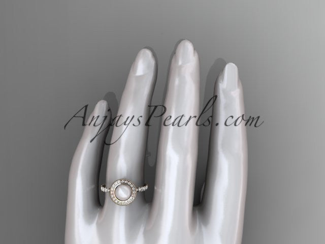 14k rose gold diamond pearl vine and leaf engagement ring AP106 - AnjaysDesigns