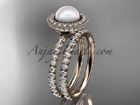 14k rose gold diamond pearl vine and leaf engagement set AP106S - AnjaysDesigns