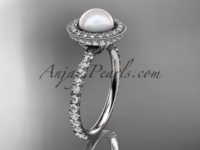 14k white gold diamond pearl vine and leaf engagement ring AP106 - AnjaysDesigns