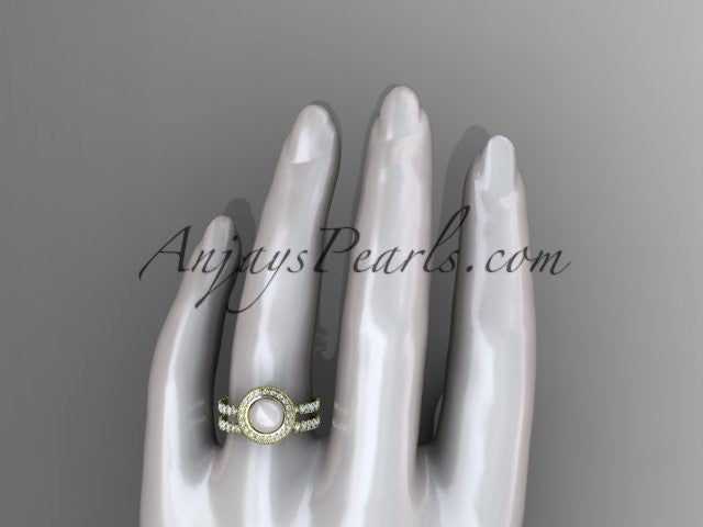 14k yellow gold diamond pearl vine and leaf engagement set AP106S - AnjaysDesigns