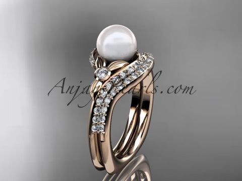 14k rose gold diamond pearl vine and leaf engagement set AP112S - AnjaysDesigns