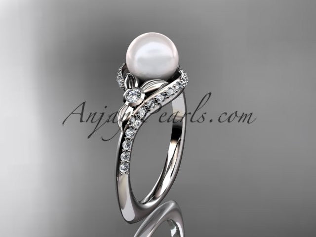 14k white gold diamond pearl vine and leaf engagement ring AP112 - AnjaysDesigns